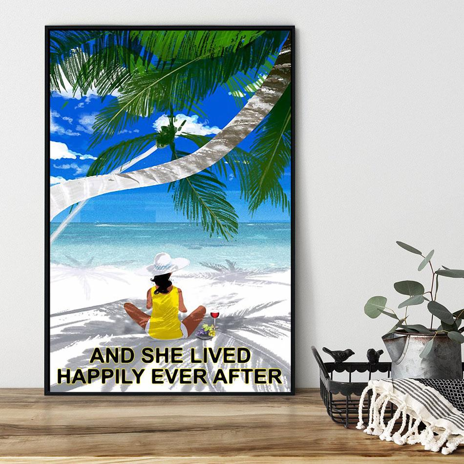 Wine Beach girl and she lived happily ever after poster black