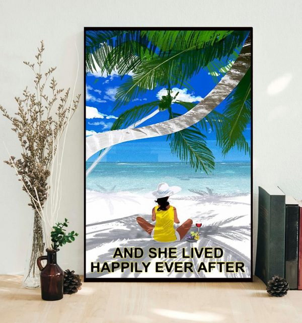 Wine Beach girl and she lived happily ever after poster