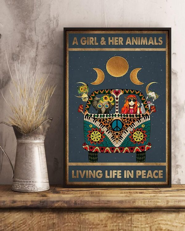 A girl and her animals living life in peace hippie poster art