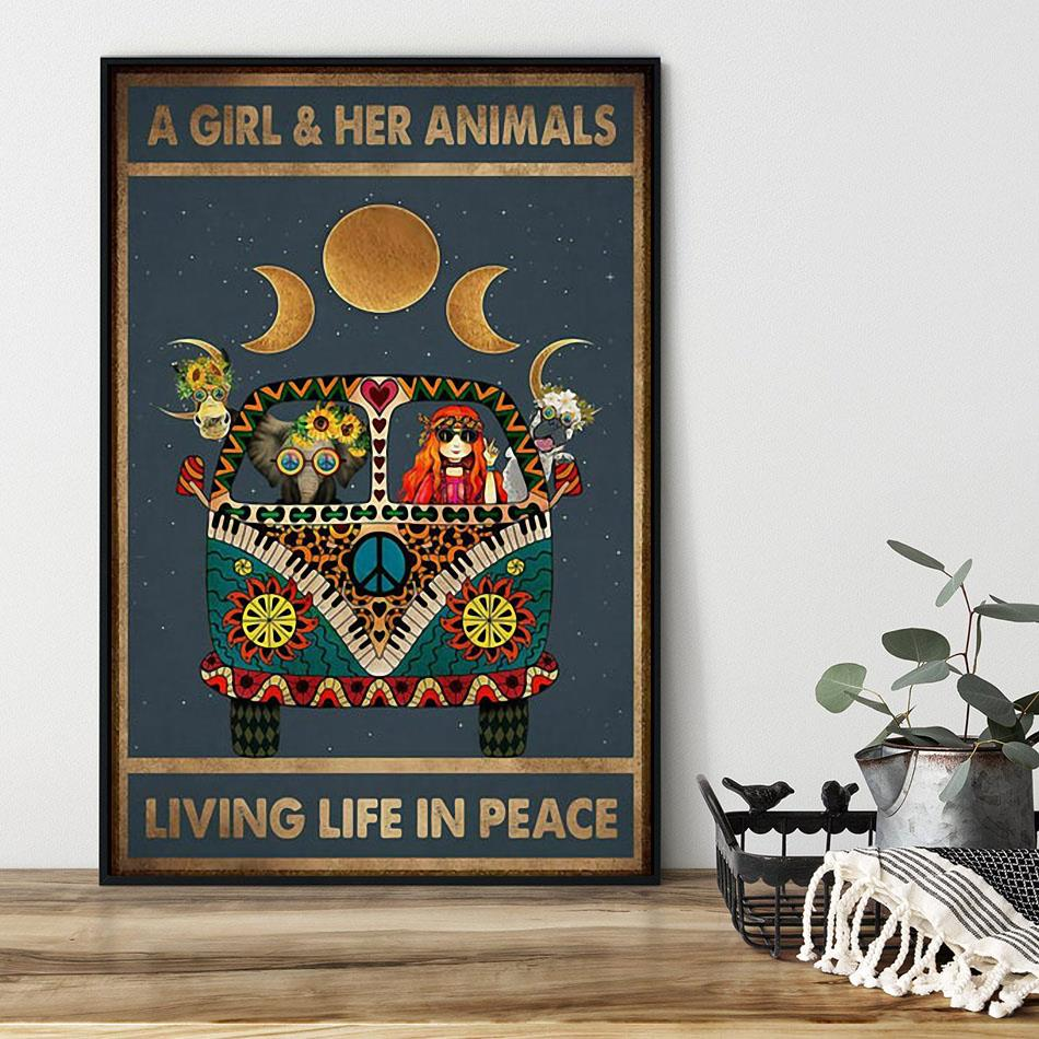 A girl and her animals living life in peace hippie poster black