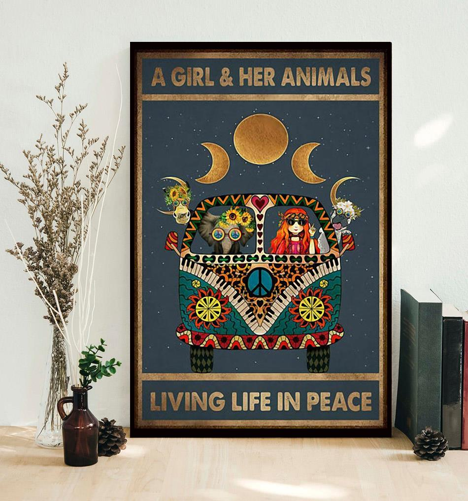 A girl and her animals living life in peace hippie poster decor
