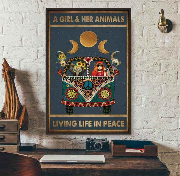A girl and her animals living life in peace hippie poster