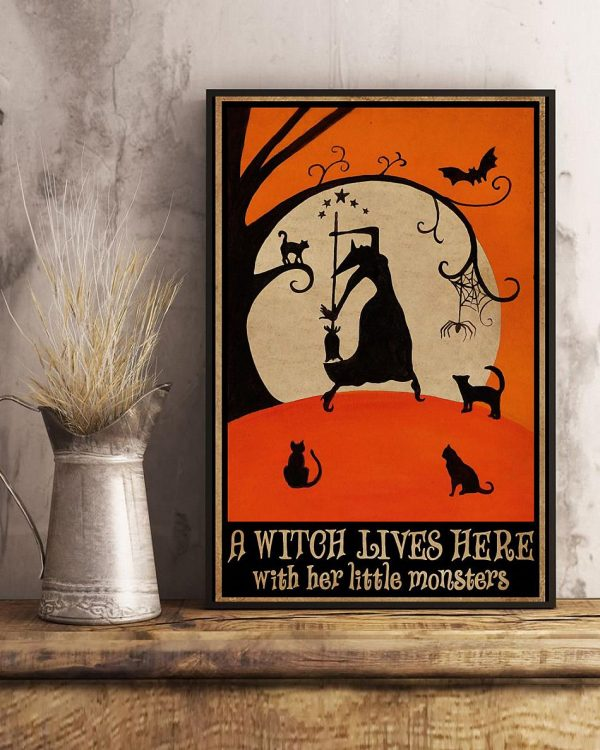 A witch lives here with her little monsters poster art