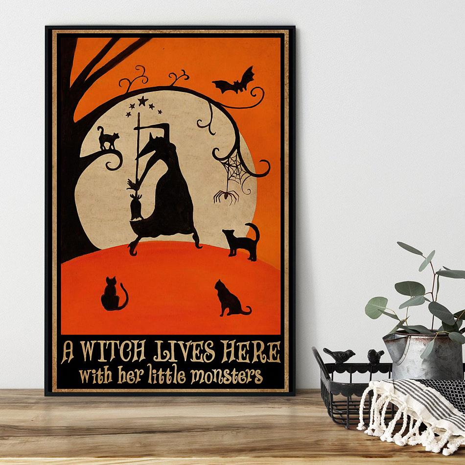 A witch lives here with her little monsters poster black