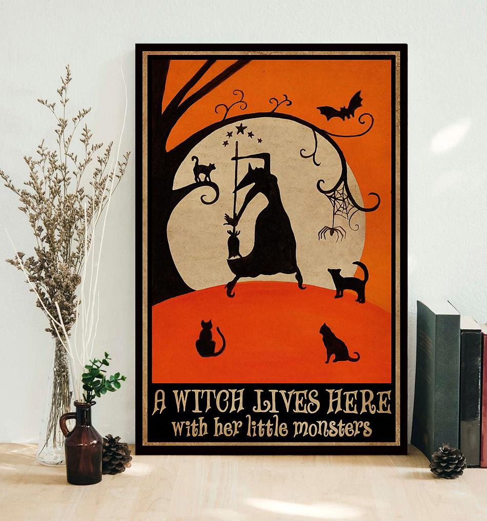 A witch lives here with her little monsters poster decor