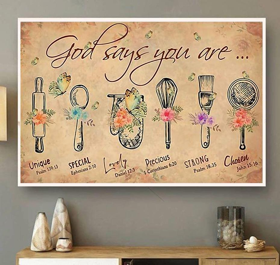 Bake God says you are unique special lovely precious canvas wall art