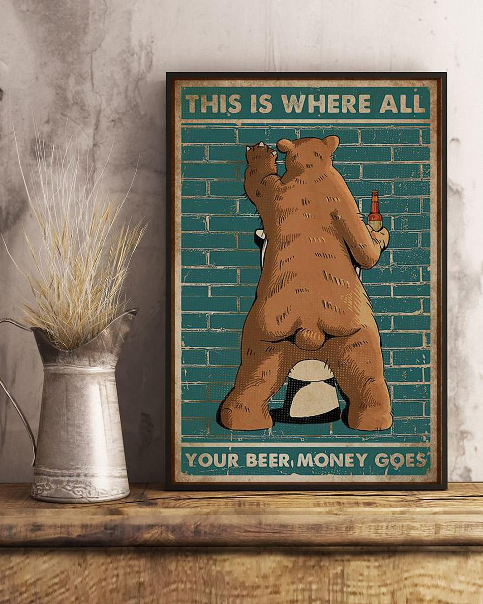 Bear this is where all your beer money goes poster art
