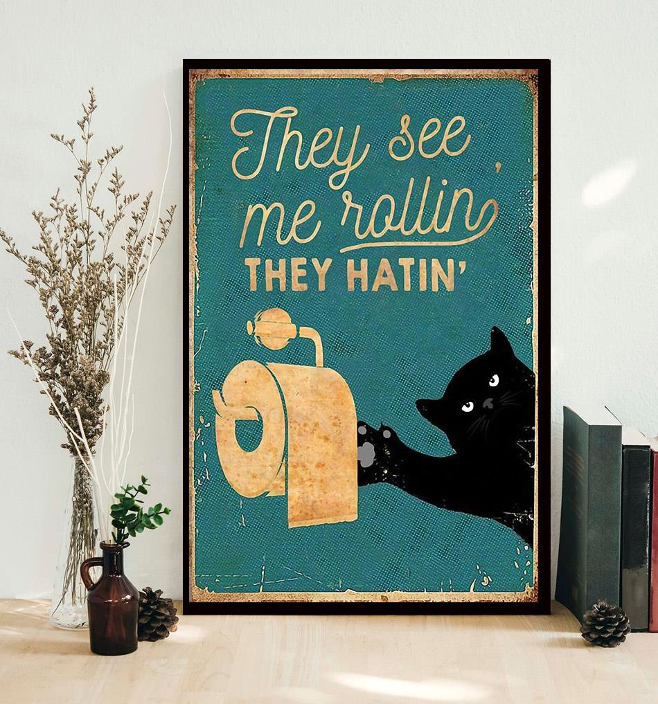 Black cat toilet paper they see me rolling they hatin poster decor