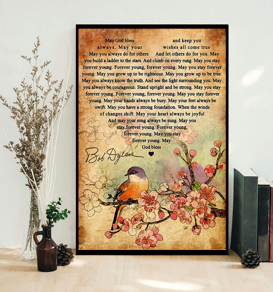 Forever Young Lyrics Bob Dylan poster canvas, wall poster