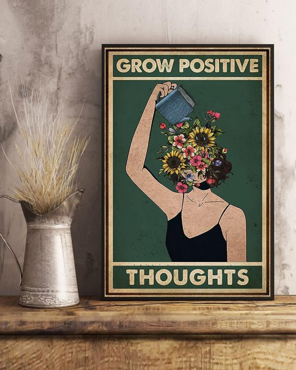 Grow positive thoughts girl flowers poster art