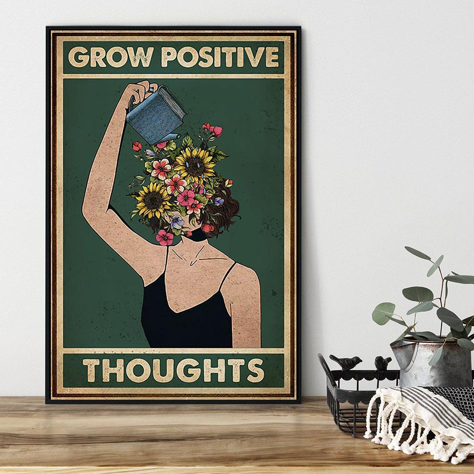 Grow positive thoughts girl flowers poster black