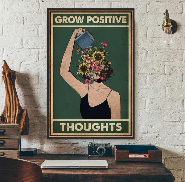 Grow positive thoughts girl flowers poster