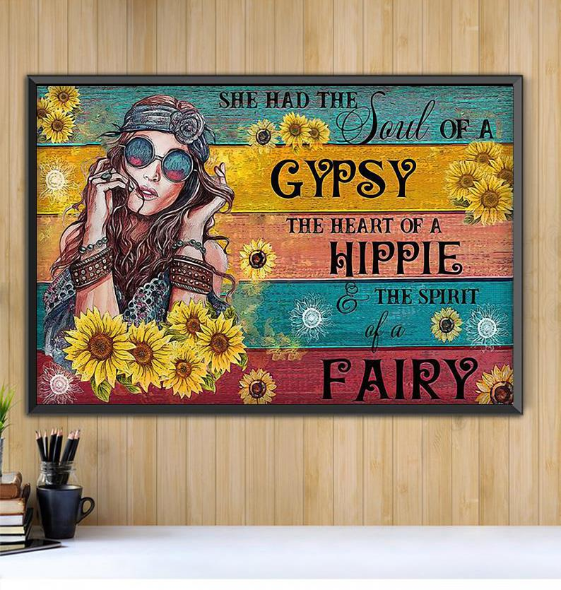 Hippie girl sunflower she had the soul of a Gypsy canvas Black canvas