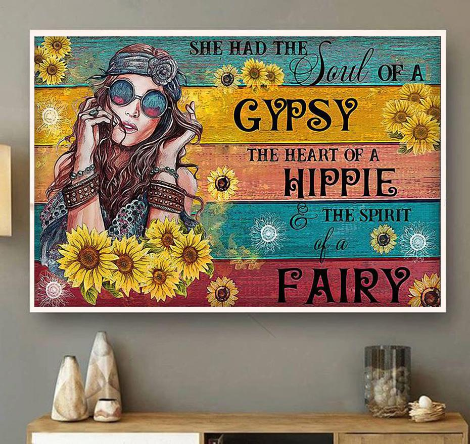 Hippie girl sunflower she had the soul of a Gypsy canvas wall art