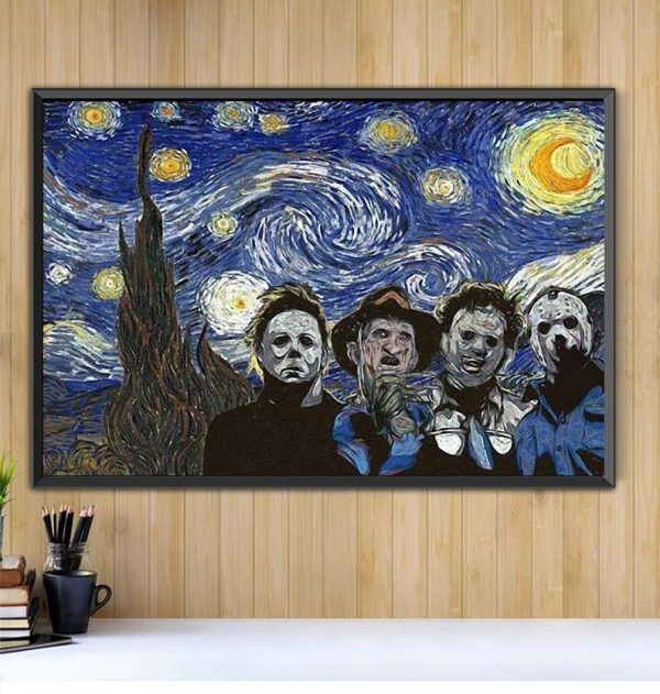 Horror characters the Starry Night poster canvas