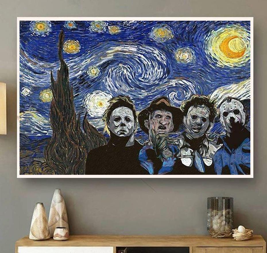 Horror characters the Starry Night poster canvas wall art