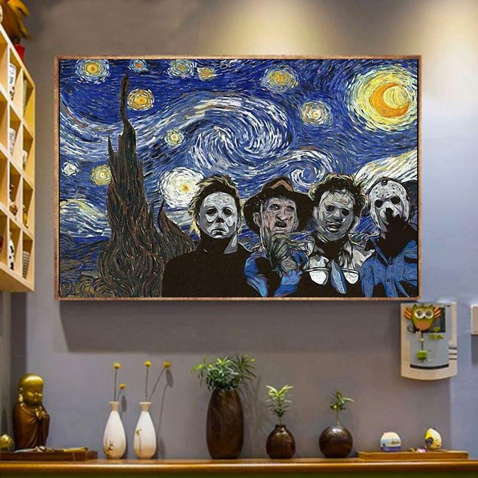 Horror characters the Starry Night poster canvas wrapped canvas
