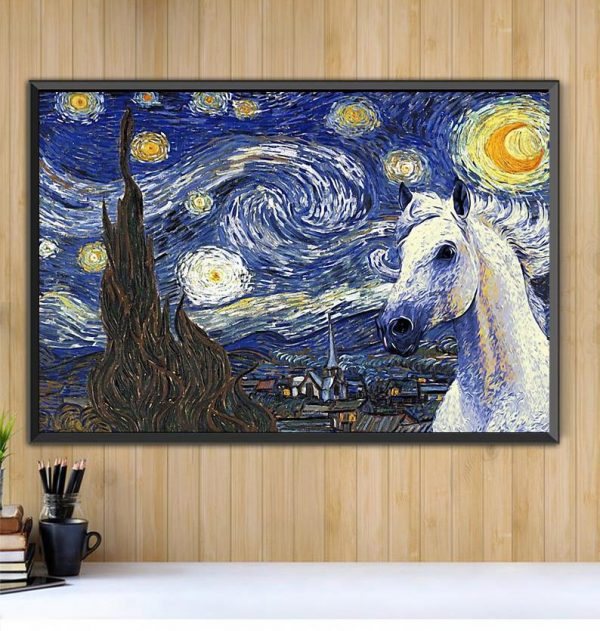 Horse the Starry Night poster canvas