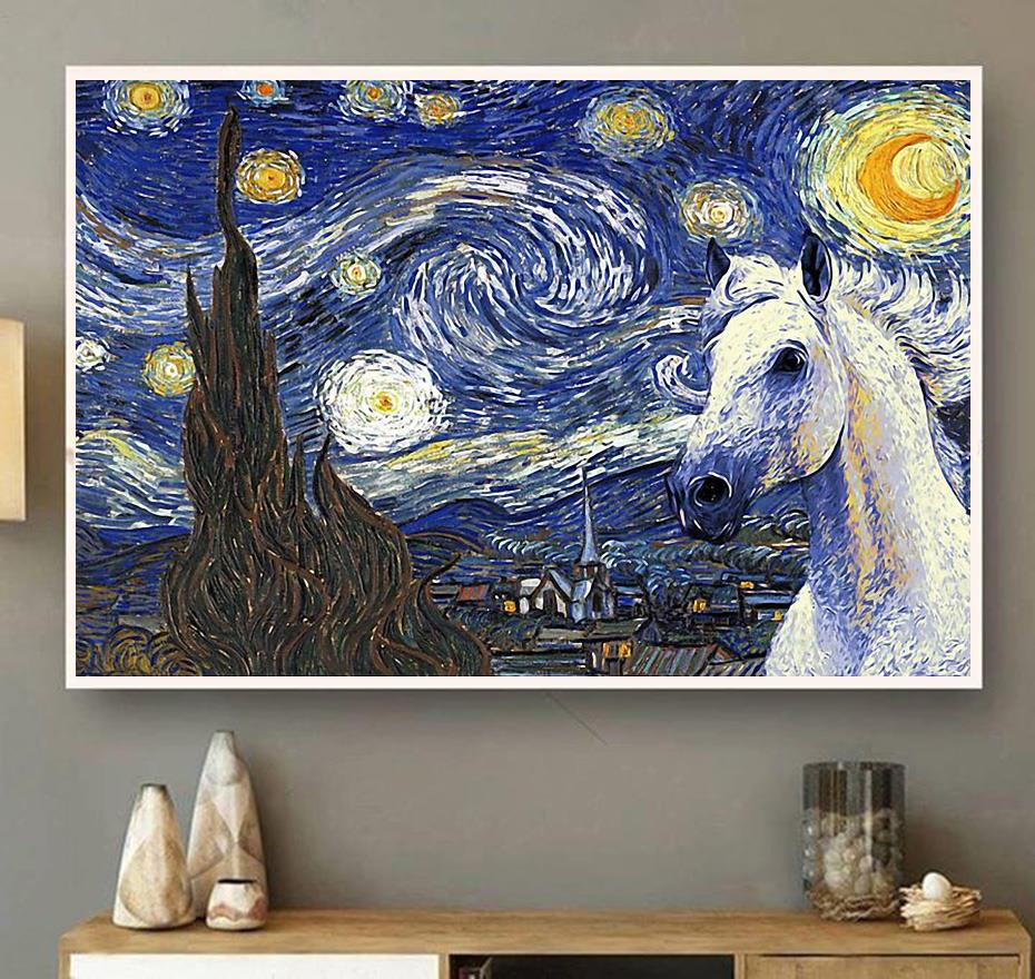 Horse the Starry Night poster canvas wall art