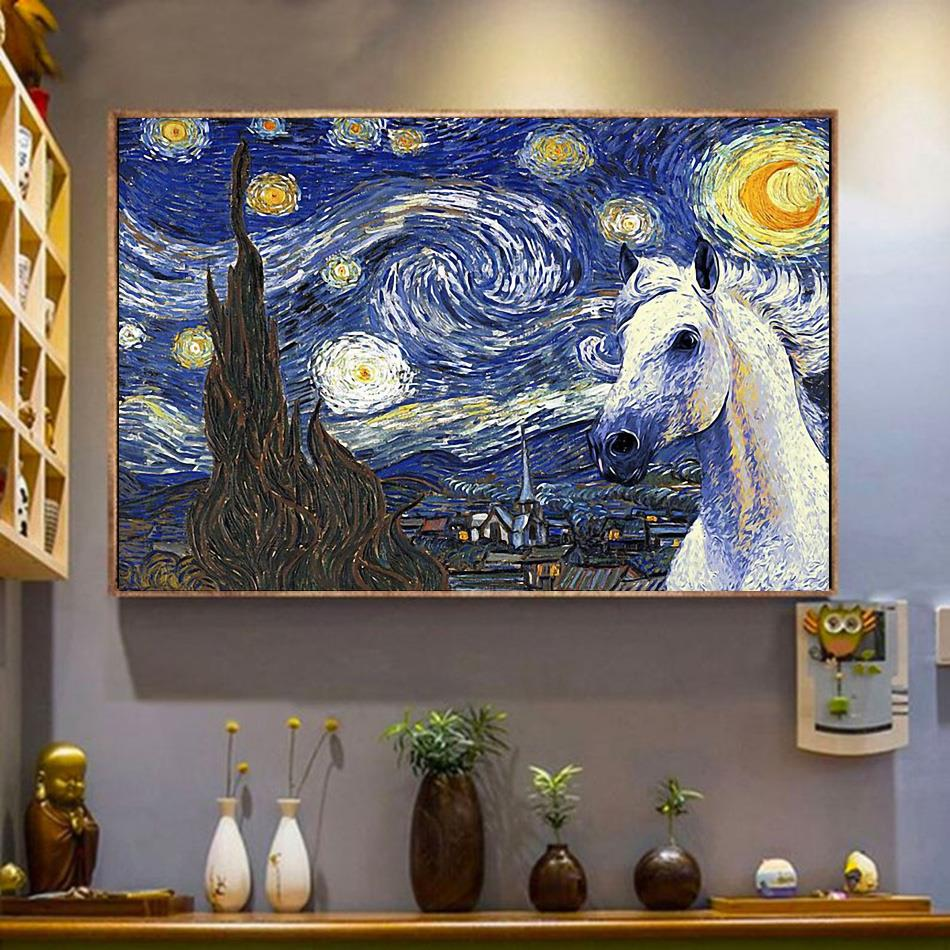 Horse the Starry Night poster canvas wrapped canvas