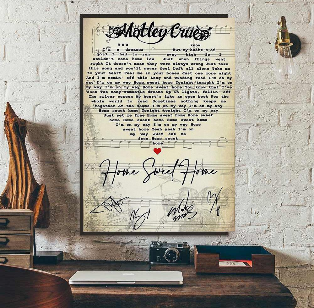 Motley Crue Home Sweet Home Heart Song Lyrics Poster Canvas
