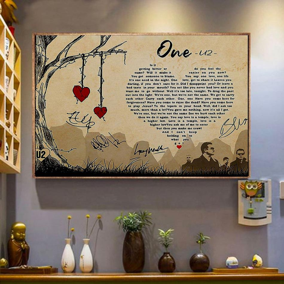 One U2 lyrics poster canvas wrapped canvas