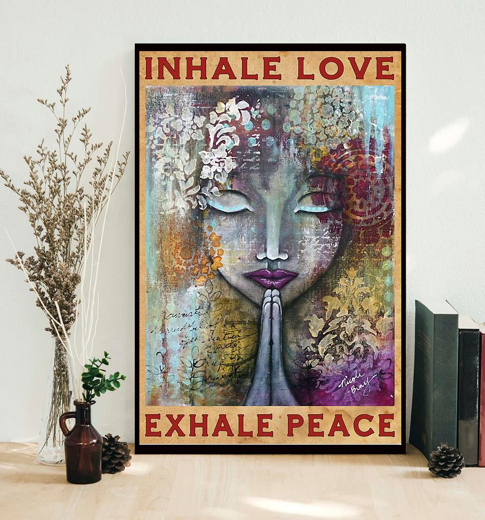 Yoga girl inhale love exhale peace poster decor
