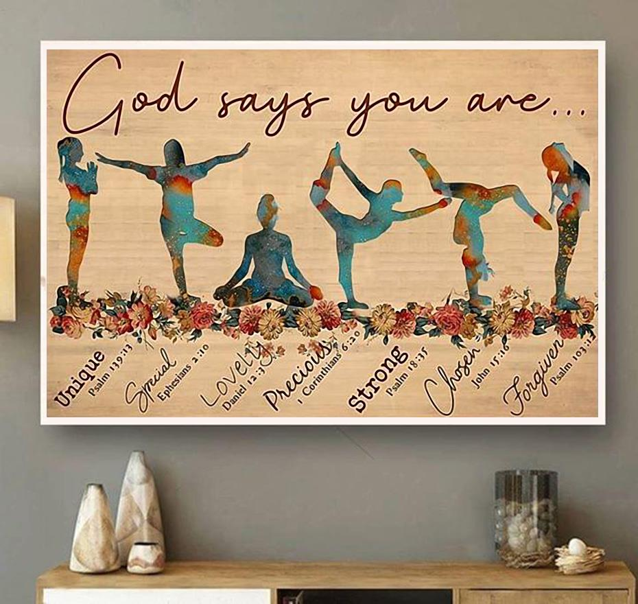 Yoga God says you are unique special lovely precious poster canvas wall art