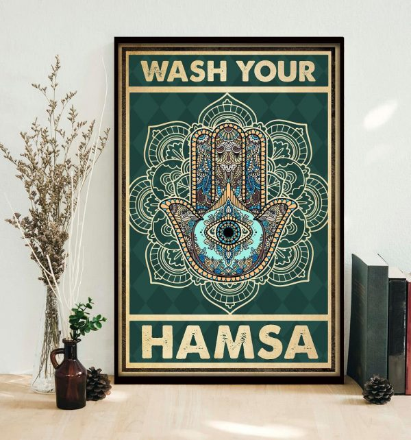 Yoga meditation namaste wash your hamsa poster decor