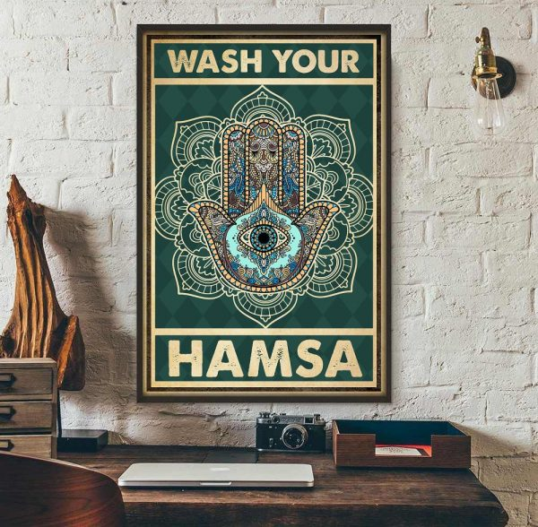 Yoga meditation namaste wash your hamsa poster