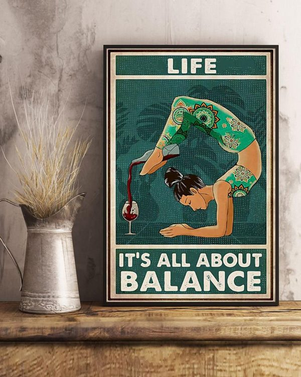 Yoga wine life it's all about balance poster art