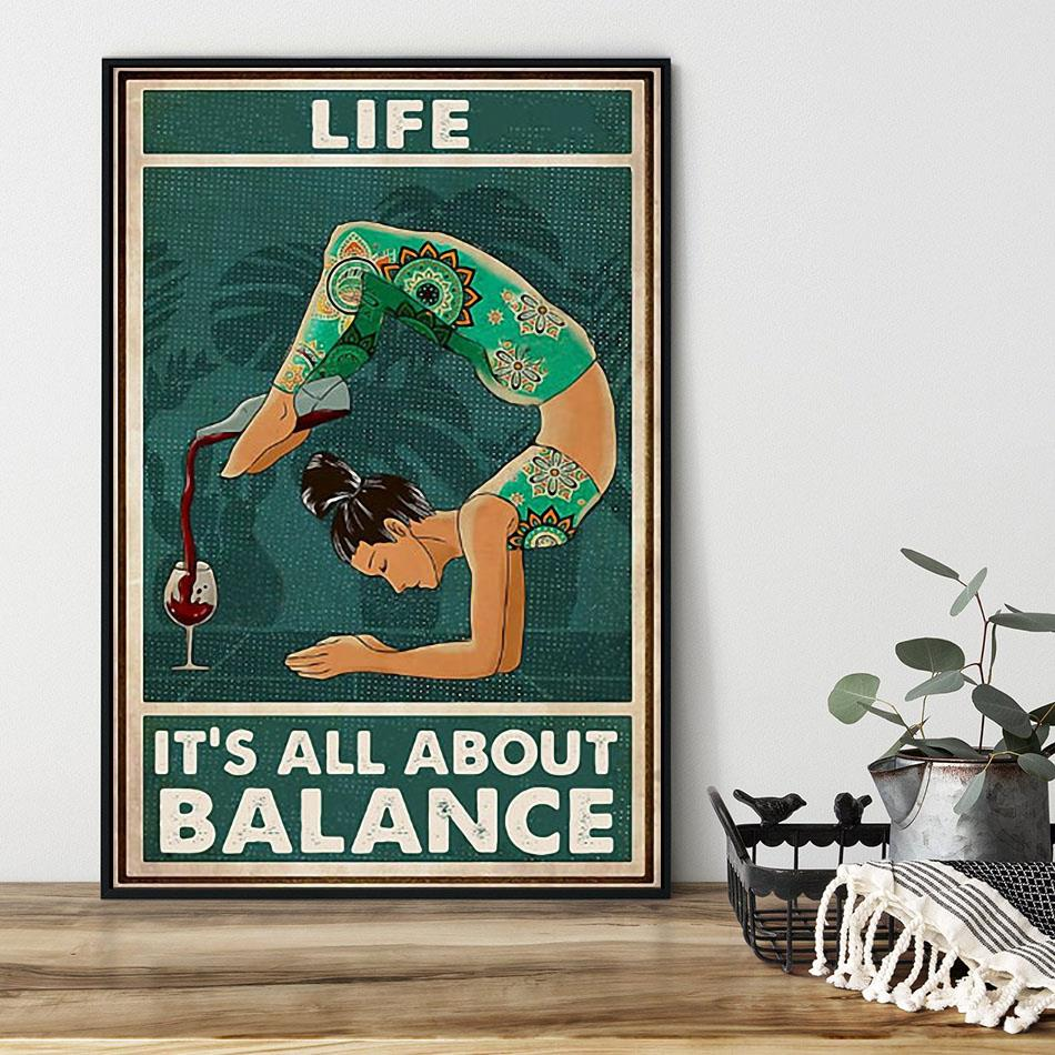 Yoga wine life it's all about balance poster black