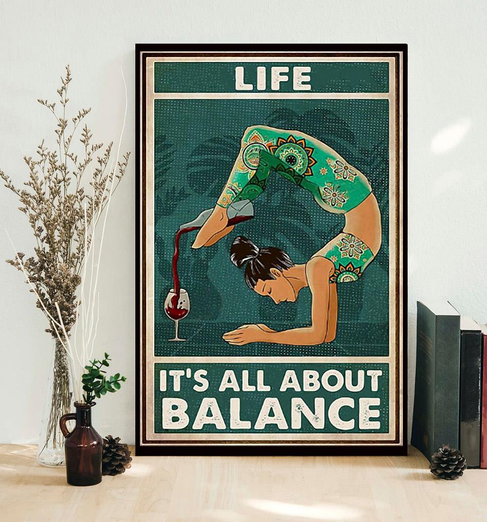 Yoga wine life it's all about balance poster decor