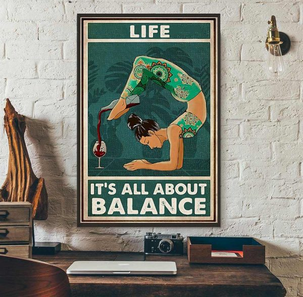 Yoga wine life it's all about balance poster