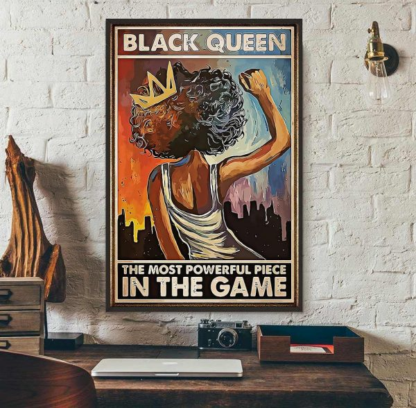 African American black queen the most powerful piece in the game poster wall art