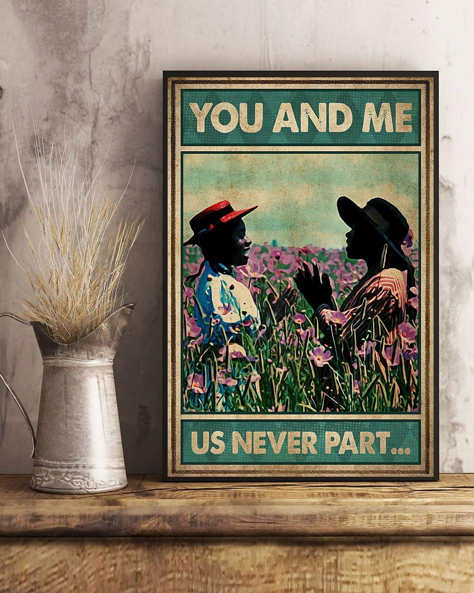 Afro girl on flower field you and me us never part poster art