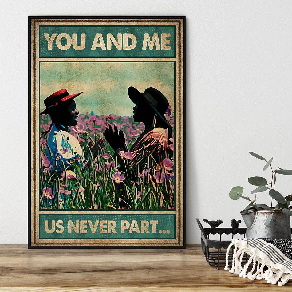 Afro girl on flower field you and me us never part poster black