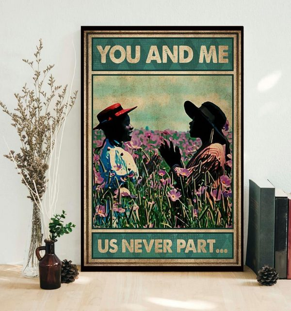 Afro girl on flower field you and me us never part poster