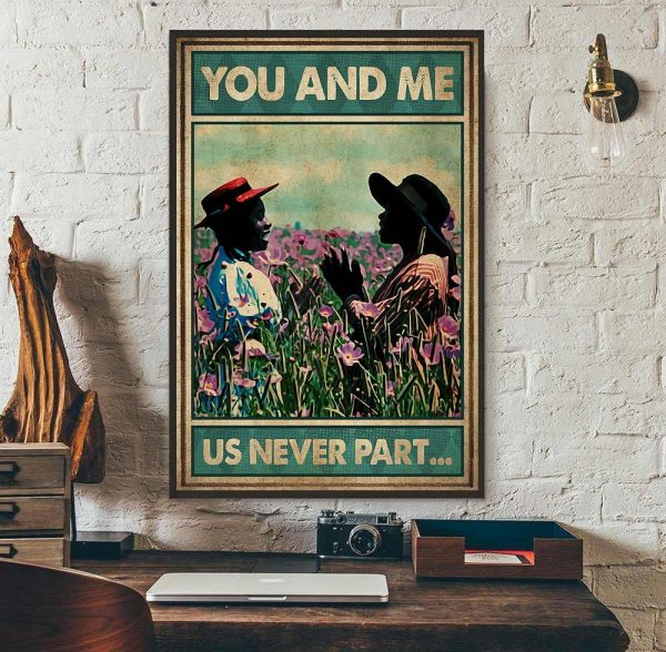 Afro girl on flower field you and me us never part poster wall art