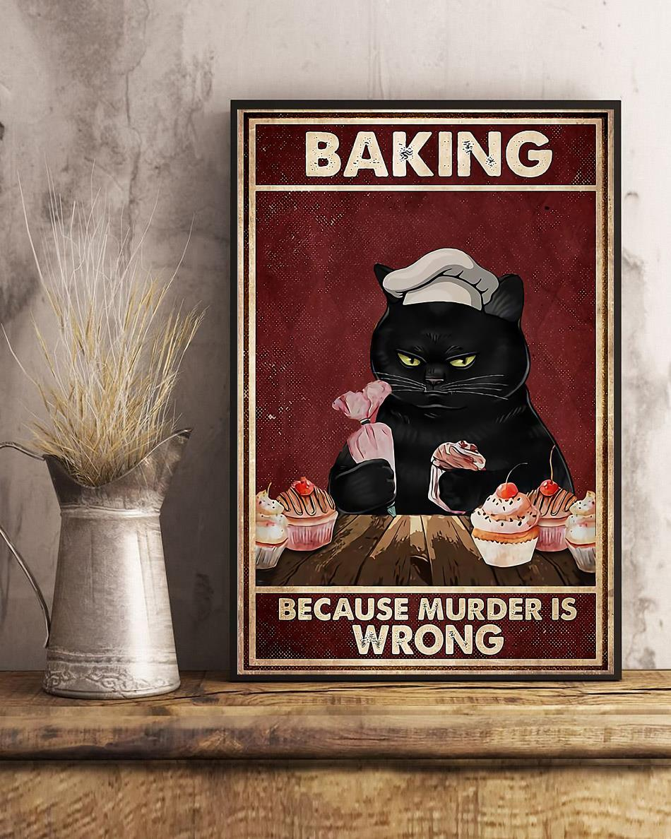 Black cat baking because murdering is wrong canvas art
