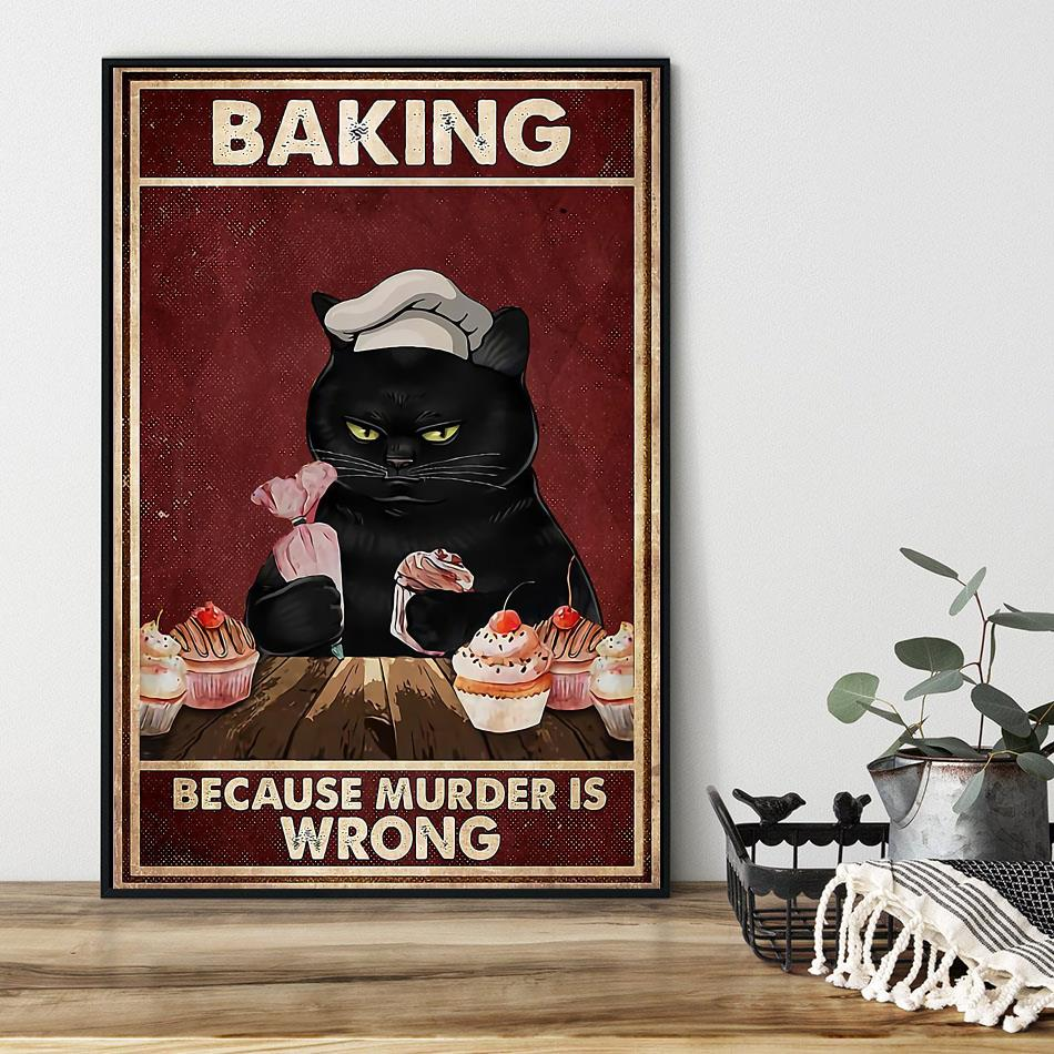 Black cat baking because murdering is wrong canvas black