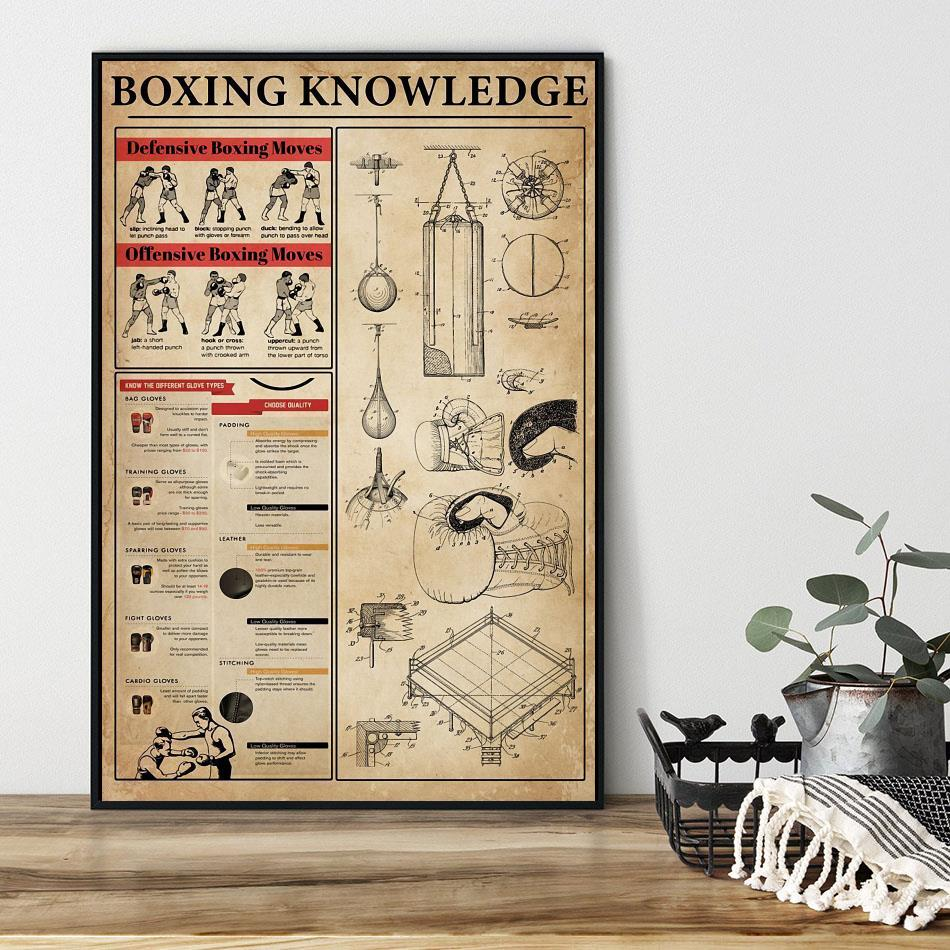 Boxing knowledge vertical canvas black