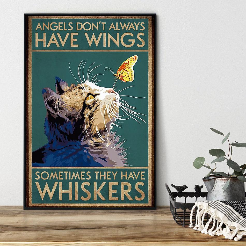 Cat angels don't always have wings vertical poster black