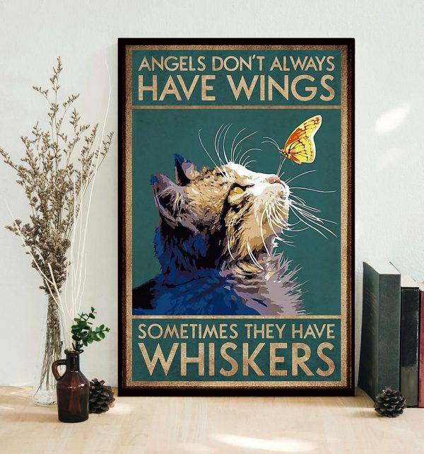 Cat angels don't always have wings vertical poster