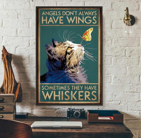 Cat angels don't always have wings vertical poster wall art