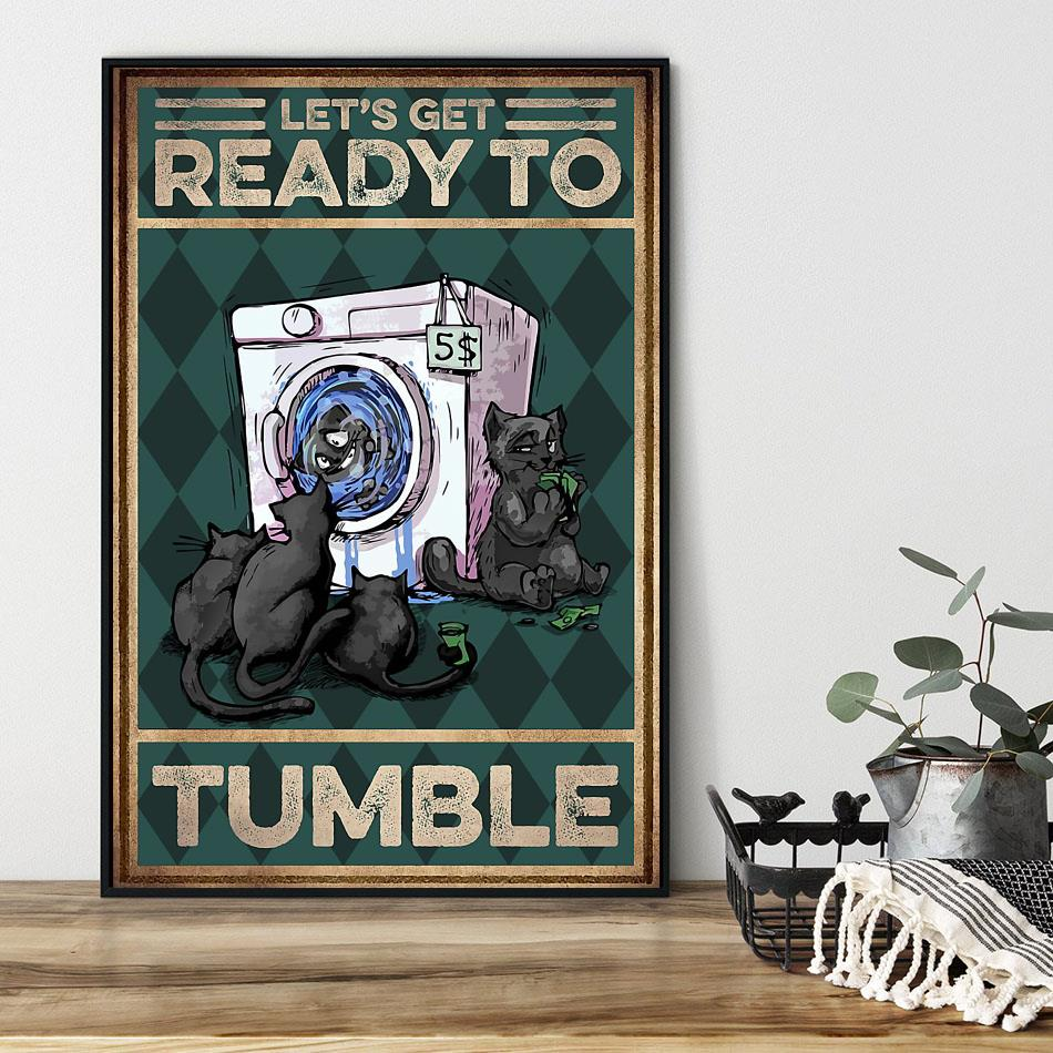 Cat let's get ready to rumble poster black