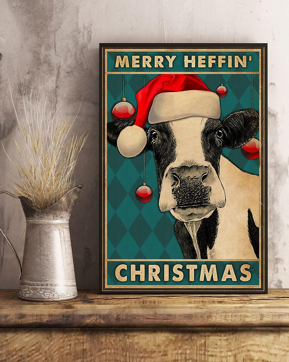 Cow merry heffin Christmas poster art