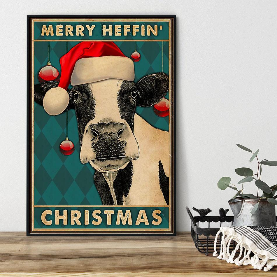 Cow merry heffin Christmas poster black