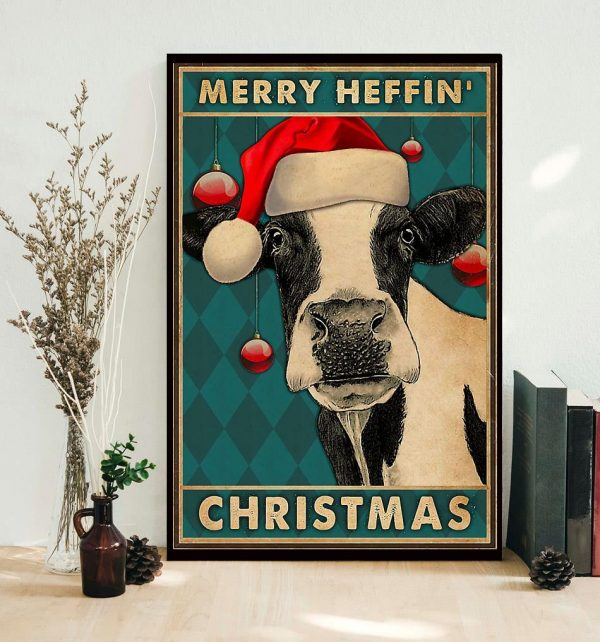 Cow merry heffin Christmas poster