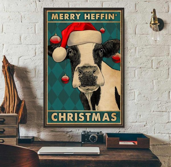 Cow merry heffin Christmas poster wall art